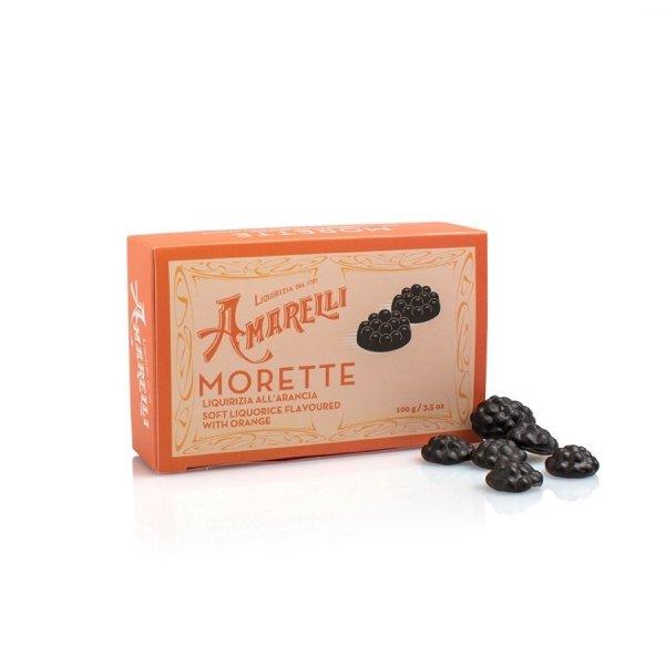 Amarelli Morette alArancia, Weiches Lakritz mit Orange, Box, 100 g, Amarelli Italien