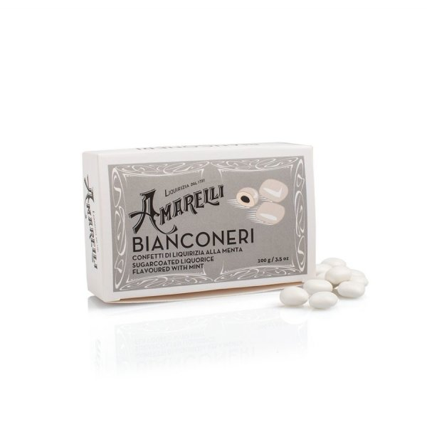 Amarelli Bianconeri, Lakritz mit Minzgeschmack und Zuckerüberzug, Box, 100 g, Amarelli Italien