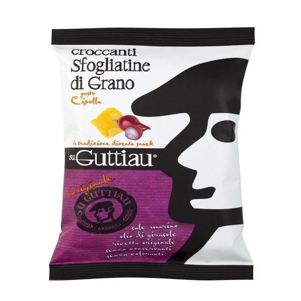 Guttiau Cipolla, Snack-Chips aus Sardinien, traditionelles Rezept mit Zwiebeln modern interpretiert, Hartweizengrieß, 70g, Su Guttiau