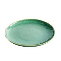 Teller aus Feinsteinzeug, rund, green / grün, small,...