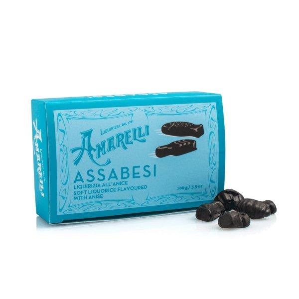 Amarelli Assabesi, Weiches Lakritz in lustigen Formen mit Anis, Box, 100 g, Amarelli Italien