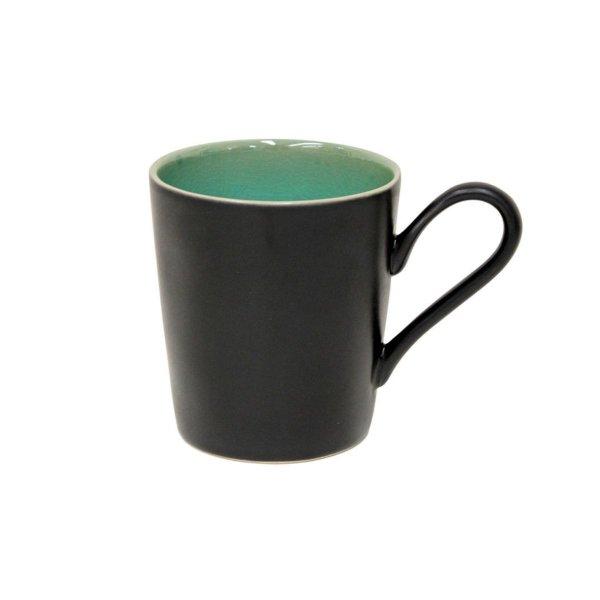 Tasse Becher mit Henkel, Schwarz / Azur-Grün, Costa Nova, Riviera Azur, 36 cl, 10,2 x 9,3 cm