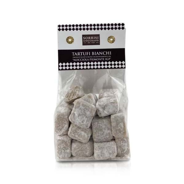 Tartufo Bianco, Weiße Schokoladen-Pralinen, Haselnüsse Piemont IGP, 200g, Boella & Sorrisi