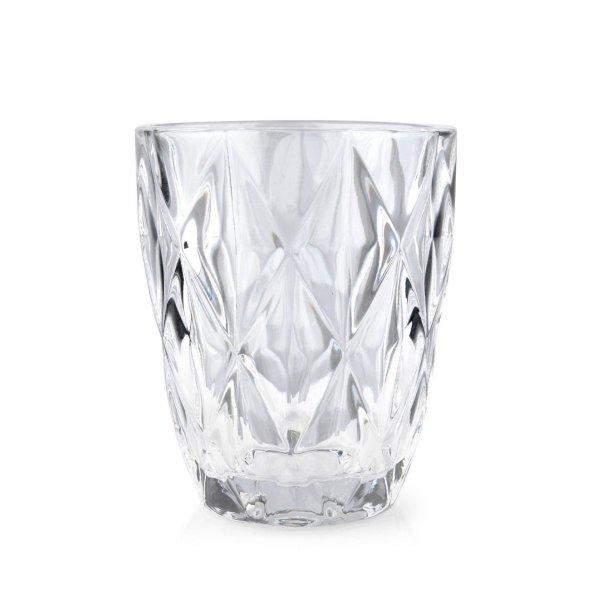 Trinkglas, Wasserglas mit Rauten-Muster, Mondex, Elise Clear, 250 ml, 8 x 9,8 cm