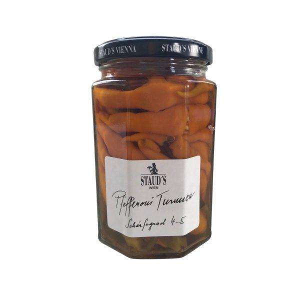 """Pefferoni """"Turuncu"""", eingelegt, Schärfegrad 4-5, 314 ml, Stauds Wien, Österreich"""