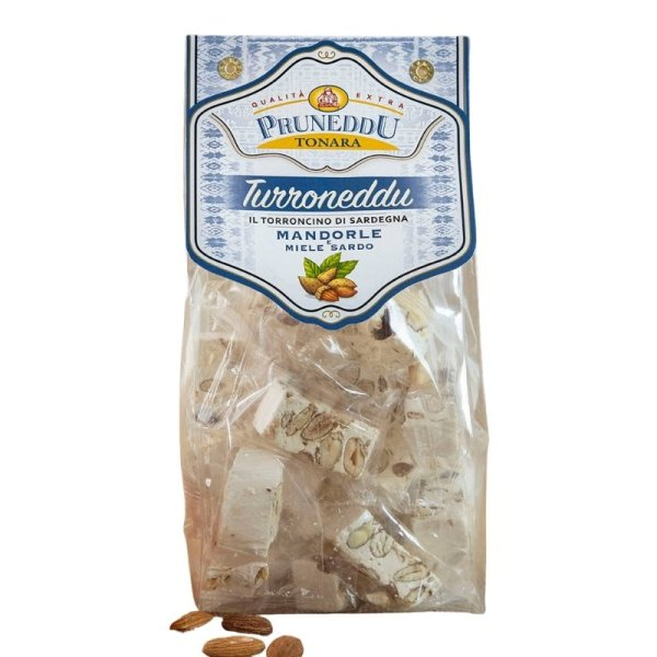 Torroncini mit Mandeln und Honig aus Sardinien, 200g, weißer Nougat, Torrone, Pruneddu Torronificio Artigianale