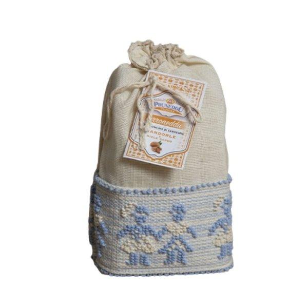 Torroncini mit Mandeln und Honig aus Sardinien, traditionelles Leinensäckchen, 200g, weißer Nougat, Torrone, Pruneddu Torronificio Artigianale