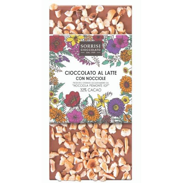 Milch-Schokolade mit Haselnuss-Splitter, Haselnuss Piemont (IGP), Tafel, 80g, Boella & Sorrisi