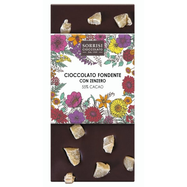 Dunkle Schokolade mit Ingwer-Stücken, Zartbitter-Schokolade, Tafel, 80g, Boella & Sorrisi