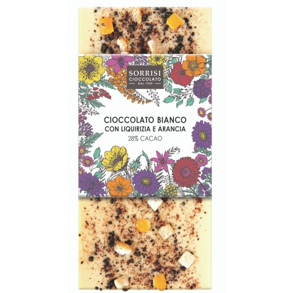Weiße Schokolade mit Lakritz und kandierten Orangenschalen, Tafel, 80g, Boella & Sorrisi