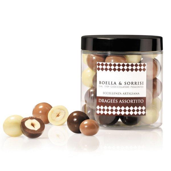 Drageés, Haselnüsse Piemont (IGP), Milch Weiße Dunkle Schokolade, 150 g, Boella & Sorrisi