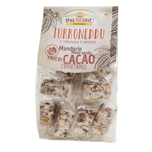 Torroncini mit Mandeln, Honig aus Sardinien, Kakaobohnen, 150g, weißer Nougat, Torrone, Pruneddu Torronificio Artigianale