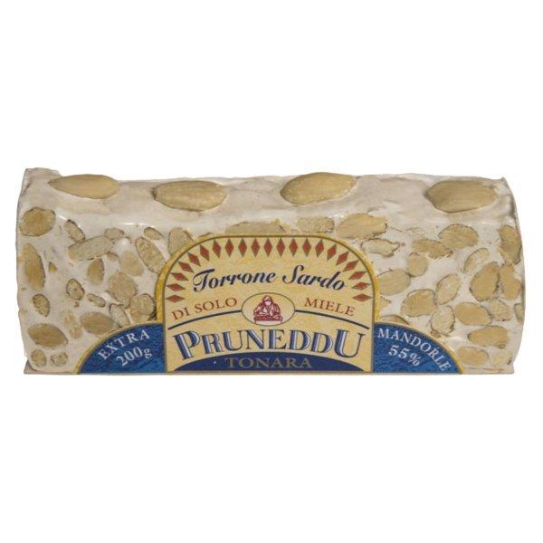 Torrone mit Mandeln und Honig, vom Stück geschnitten, 200g, weißer Nougat, Pruneddu Torronificio Artigianale