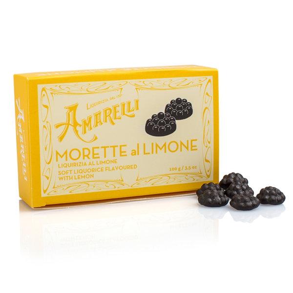 Amarelli Morette al Limone, Weiches Lakritz mit Zitrone, Box, 100 g, Amarelli Italien