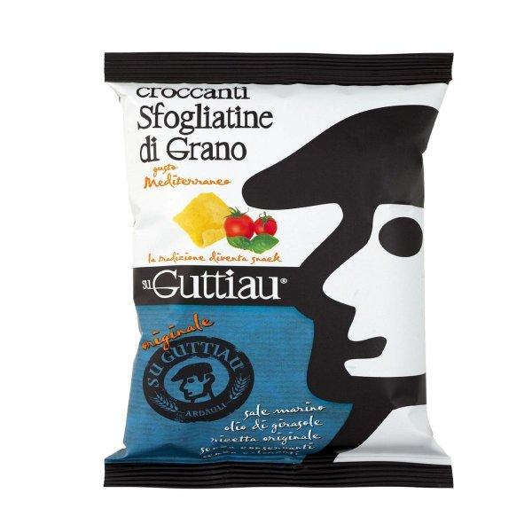 Guttiau Mediterraneo, Snack-Chips aus Sardinien, traditionelles Rezept mit Tomate und Basilikum modern interpretiert, Hartweizengrieß, 70g, Su Guttiau